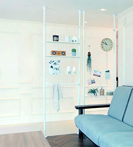 Casamaru Magic Partition Medium (Steel) 4-in-1 Home Furniture Offering Storage/Organizer/Room Divider/Photo Display, Height Adjustable (White,Medium)