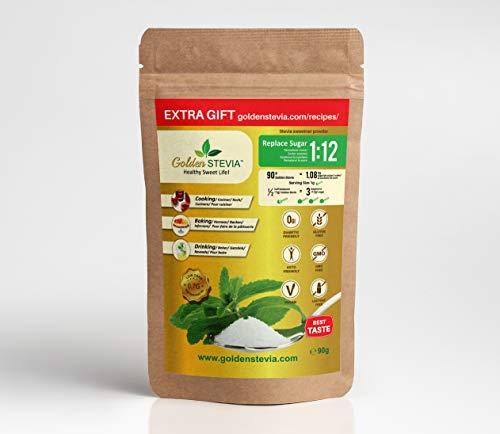 Golden Stevia Pulver Süßstoff 90g ersetzen 1kg Zucker, 12-mal süßer xucker light, low carb zuckerersatz Keto Diät, weight loss, diabetiker zucker, backen mit stevia zuckerfreie süssigkeiten
