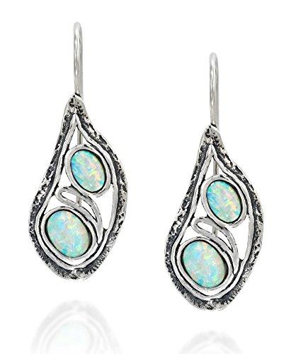 925Sterling Silber Tropfenform Ohrringe mit zwei Erstellt Weiß Opal Elegante Einzigartiges Design Damen Schmuck