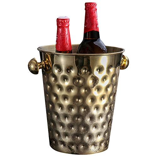 YINAIER Cubo De Cerveza De 5L, Cubo De Hielo, Enfriador De Champán De Acero Inoxidable, Cubo De Bar con Cubitos De Hielo para Vino, Cerveza, Vino Espumoso O Refrescos(Color:Dorado)