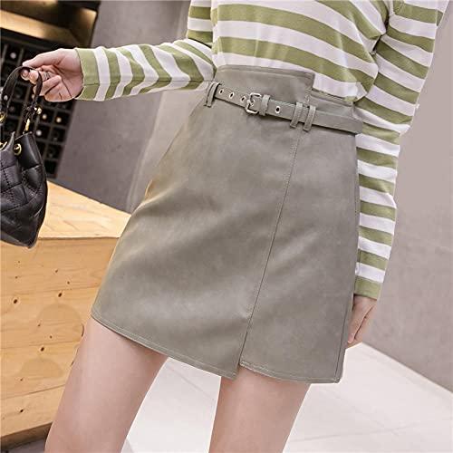 Falda Mujer Falda De PU con Fajas Coreanas para Mujer, Faldas Sexis Sólidas De Cintura Alta, Faldas para...