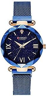CURREN 9063 Luxury Women Watches Mesh Ladies Clock Magnet Buckle Starry Diamond Geometric Surface Casual Dress Quartz Wris...