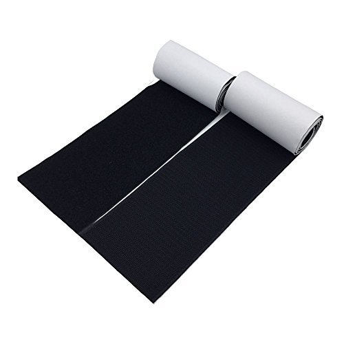 Value Acme 100mm Wide (Approx 4) 1 Meter Long Self Adhestive Hook And Loop Strips Set With Super Sticky Back Nylon Fabric Fastener Magic Tape Black by Value Acme