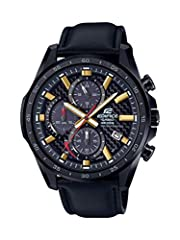 Imported; Edifice; Solar Powered; Chronograph; Carbon Dial; Leather Band 1 Sec Stopwatch; Date Display; Battery Indicator; Screw Back Quartz Movement Case Diameter: 47.6mm Water resistant to 100m (330ft): in general, suitable for swimming and snorkel...
