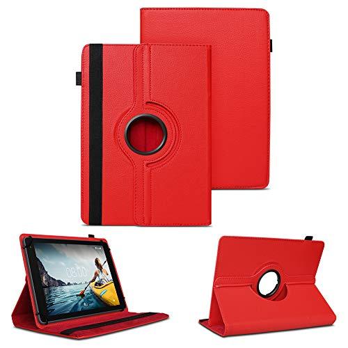 NAUC Tablet Schutzhülle kompatibel für Medion Lifetab P8912 Hülle Tasche Standfunktion 360° Drehbar Cover Universal Hülle, Farben:Rot