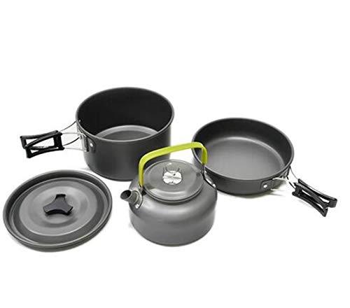 3 UNIDS/SET Aleación de aluminio Camping Utensilios Utensilios Utensilios Al aire libre Cocina Tetera Picnic Vajilla Tetera Pot Sart Pan