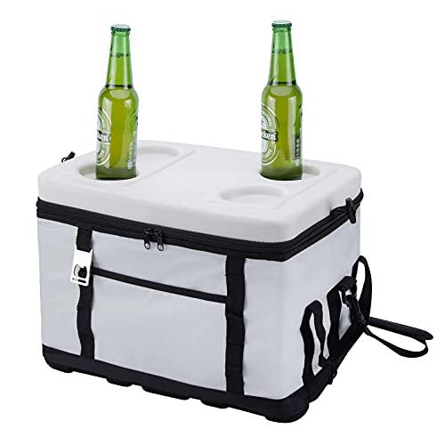 ACCSHINE Kühltasche 30 Liter Kühlbox Groß Isoliertasche Wasserdichten Ultraleicht Picknicktasche Lunch Tasche mit Getränkehalter Picknick Reisen Campingtasche