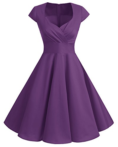 bbonlinedress 1950er Vintage Retro Cocktailkleid Rockabilly V-Ausschnitt Faltenrock Purple M