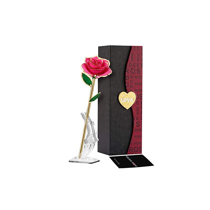 silk flower arrangements suturun gold dipped rose,24k gold rose with transparent stand,real long stem eternity rose flower best for her,mom,wife,girlfriend,anniversary,mothers day,birthday,valentine's,wedding