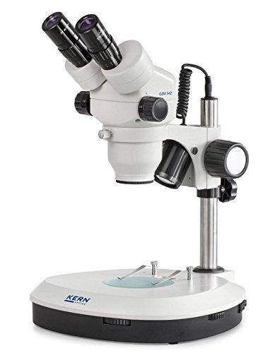 Stereo-Zoom Mikroskop [Kern OZM 542] Das Hochwertige für routinierte Anwender, Tubus: Binokular, Okular: HSWF 10x Ø23 mm, Sehfeld: Ø32,8 - 5,1 mm, Objektiv: 0,7x - 4,5x, Ständer: Säule, Beleuchtung: 3W LED (Auflicht); 3W LED (Durchlicht)