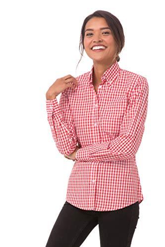 Chef Works Women's Medium Gingham Dress Shirt, Red & White Check