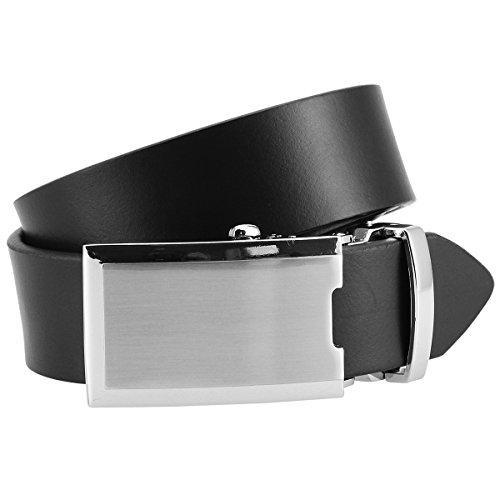 Lindenmann Mens leather belt/Mens belt, leather belt XL with autolock buckle, black, Größe/Size:100;Farbe/Color:black