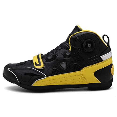 Sooiy Moto Botas de Agua Touring blindado Protección vehículo sobre la Carretera de Arranque Zip Zapatos Libres Deporte de los Zapatos de la Motocicleta, 2019,Amarillo,43