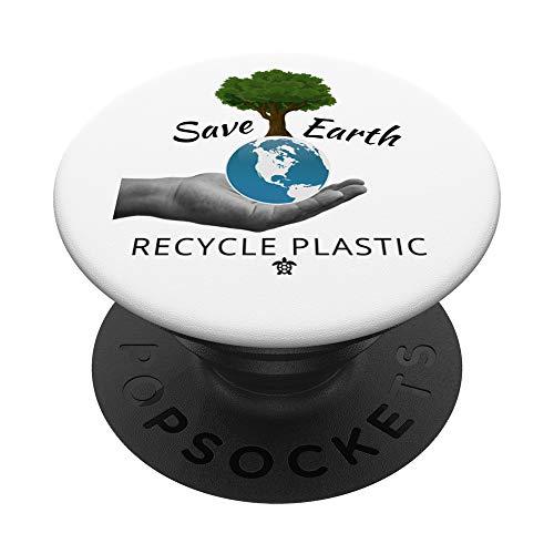 Salvar la Tierra y Reciclar Plástico Moda Mujer Hombre PopSockets PopGrip: Agarre intercambiable para Teléfonos y Tabletas