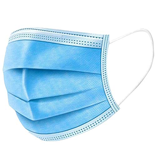 OUCHENSHASHANGMAOYO 20 X Einweg Maske Gesichtsmaske 4-lagig Atemschutzmaske Mundschutz mit Ohrschlaufen Einstellbarer Nasenclip, Blau(Auf Lager)
