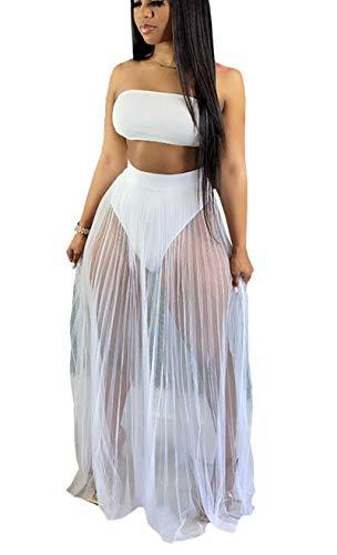 Women 3 Piece Swimsuit Set Bandeau Bikini and Fishnet Hollow Out Beach Maxi Dress Cover Ups Party Dress Clubwear White L