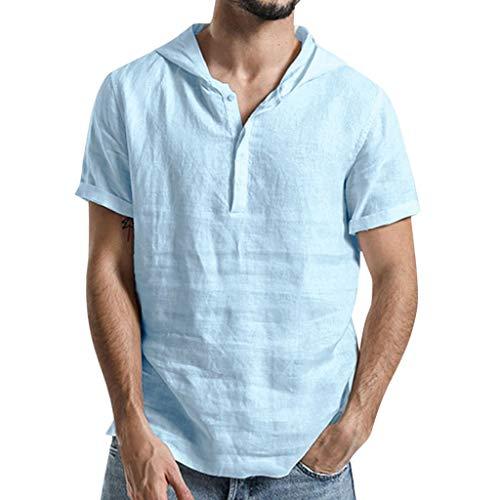 CICIYONER Kapuzehemden Herren Leinenhemd Kurzarm-Shirt Männer Volltonfarbe Baumwolle und Leinen Kurze Ärmel Hemd mit Kapuze Top (XL, Hellblau)