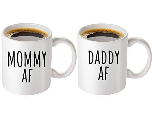 Mommy AF and Daddy AF Coffee Mug Set - Funny Gifts for New Parents - Mom and Dad Gift for Baby Shower, Birthdays, Anniversaries, Christmas, Hanukkah, and Other Special Occasions