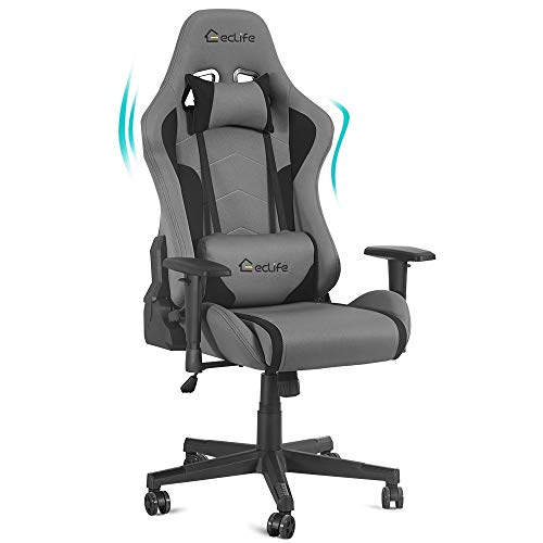 Massage Gaming Chair, 90°-180° Adjustable High Back Headrest and Lumbar Support Video Game Chair, Heavy Duty 360 Swivel Ergonomic Computer Gamer Chair Racing Style