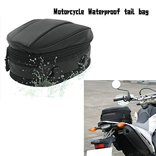 Motorrad Rücksitz Tail Pack Tasche Wasserdicht Leder Erweiterbar Gepäcktasche PU 7.5-10L Kapazität für Universal Fit