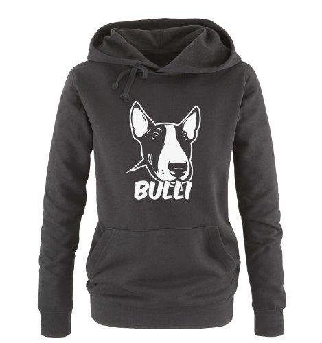 Comedy Shirts Bullterrier - Bulli - Einfarbig - Damen Hoodie - Schwarz/Weiss Gr. M