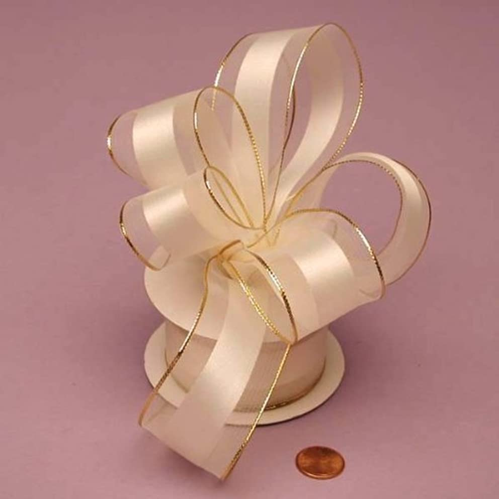 Ivory Sheer Ribbon With Satin Stripe And Gold Edges, 1-1/2