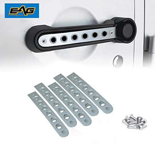 EAG ABS Side Door Grab Handle Knobs Cover Trim Fit for 2007-2018 Jeep Wrangler JK Unlimited 4 Doors Handle Pull Silver 5PCS