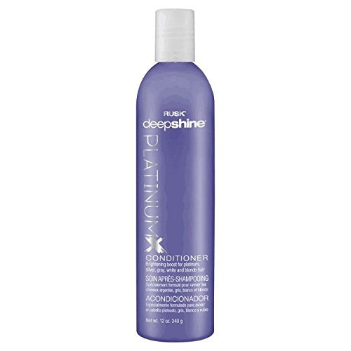 RUSK Deepshine Platinum Conditioner, 12 Oz, Gentle Conditioner Eliminates Brassiness, Brightening Boost for Platinum, Silver, Gray, White, and Blonde Hair