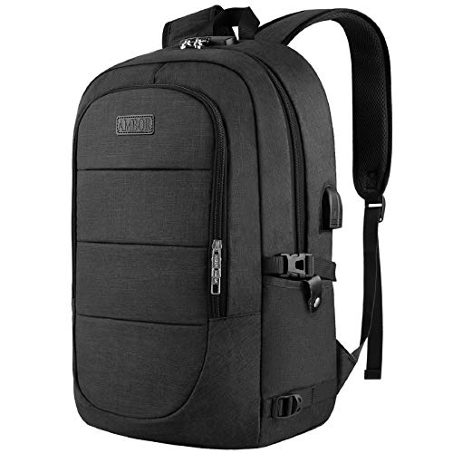 Anti-Theft Backpack,15.6-17.3 Inch Business Travel Laptop Rucksack Bag with USB Charging Port with Lock, Slim Water Resistant College School Computer Bag Daypack for Boys Girls-Black