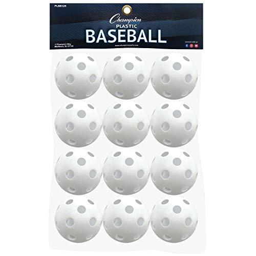 Champion Sports Champion Sports Weiße Kunststoff-Baseballs: Hohle Bälle für Sportübungen oder Spielen, 12 Stück