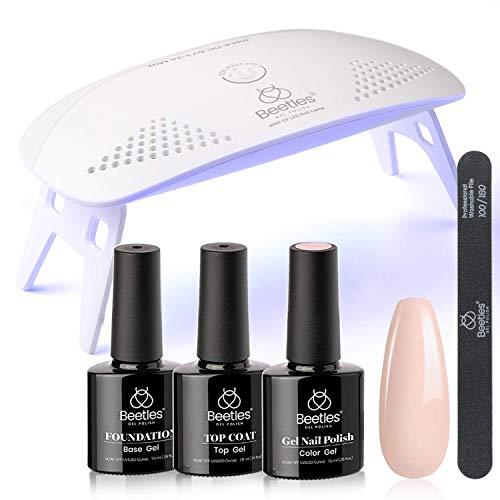 Juego de esmalte de uñas de gel con luz UV LED y base de gel Top Coat Starter Kit, Soak Off popular Nude Gel Polish Set con lámpara de uñas lima de uñas para bricolaje hogar manicura regalo para mujeres