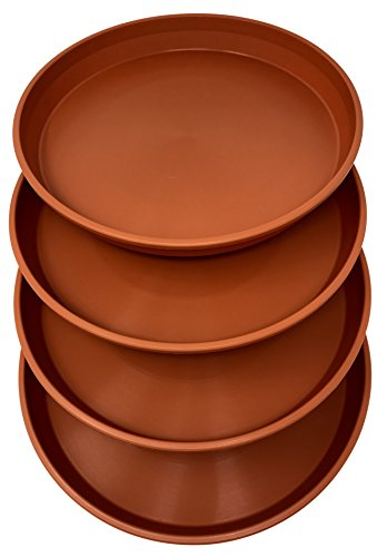 Matri Round Plastic Plant Saucer 9quot Set of 4 Units Terracotta Color
