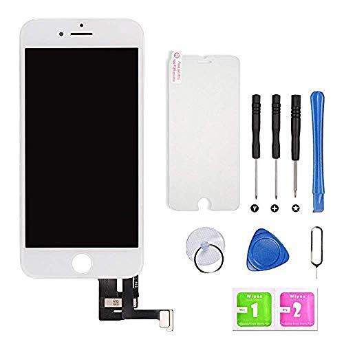 Hoonyer Display per iPhone 7 Schermo (4.7 Pollici) LCD Touch Screen Frame Bianco Vetro Schermo Kit Smontaggio Trasformazione Completo di Ricambio Utensili Inclusi