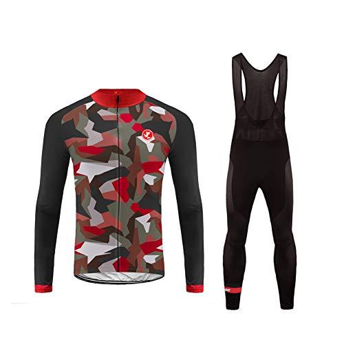 Uglyfrog Magliette Completo Ciclismo MTB Abbigliamento Set Uomo Inverno Termico Fleece Warm Vello Maniche Lunghe Antivento Ciclismo Bici Maglia Lunga e Pantaloni-Due Pezzi HIWLJ05