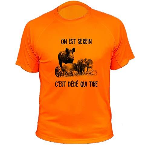 Tee Shirt Chasse, Personnalisable, on est Serein C'est Dédé Qui Tire - Sanglier (L,421, Orange)