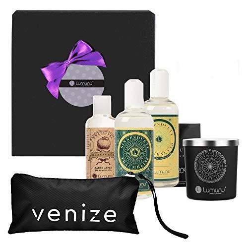 Deluxe Massage Wellness-Box mit Massageölen & Massagekerze, edles Premium Set für romantische Partner-Massagen & Intim-Massagen, von Venize