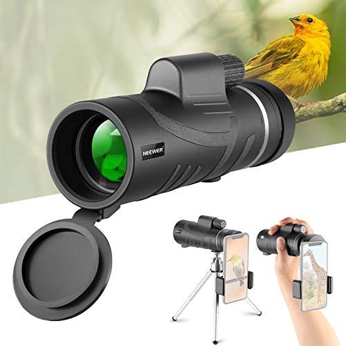 Neewer Telescopio Monoculare 12x50mm Definizione Alta Potente con Supporto Clip per Smartphone & Treppiedi, Impermeabile con Prisma FMC BAK4 Chiaro, per iPhone Samsung Bird Watching ecc.