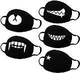 Dragonee 5 Piezas Patrón de Anime, Transpirable, Fácil de Respirar, Cubrir Estrictamente, Tendencia de Moda, Kawaii, Adecuado Neutral, para Adultos y Adolescentes, Negro