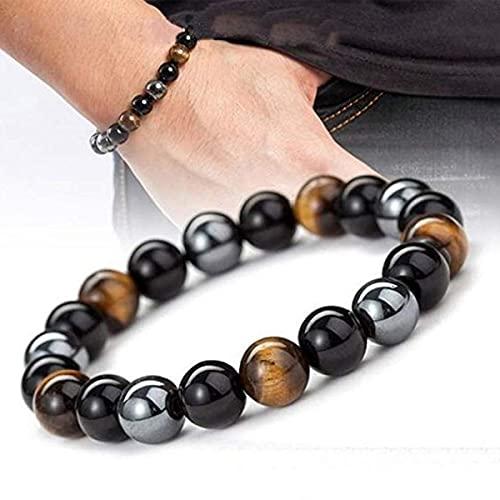 5PCS Duramen Energy Resurrect Bracelet,Men Triple Stone Steelhard Infrared Bracelet,Bracelet Tiger Eye Triple Protection