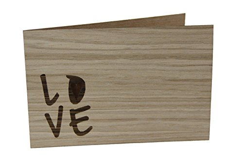 Tarjeta de felicitación de madera – Love – 100% hecha a mano en Austria – Postal, tarjeta de regalo, tarjeta de felicitación, tarjeta plegable, tarjeta de invitación, tipo de madera: roble
