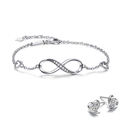Lv.unique Womens Armband 925 Silver Infinity Endless Love Symbol Charm Adjustable Armband Dame Bracelet Gift for Women Charm Forever Bracelet for Women Girls