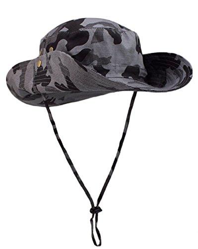 ZUMUii Butterme Unisexe Adulte Chapeau Camouflage à Large Bord Cap Boonie Hat Chapeau Fisherman avec Cordonnet pour Camping Militaire Wargame Voyage Sport