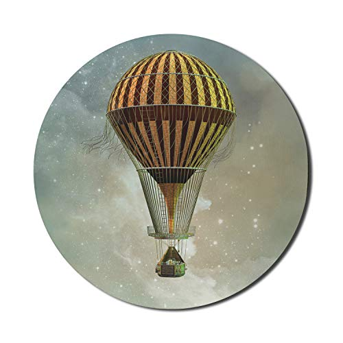 """Ambesonne Steampunk Mouse Pad for Computers, Fantasy World Hot Air Balloon Rising in The Night Sky Full of Stars Themed Print, Round Non-Slip Thick Rubber Modern Gaming Mousepad, 8"""" Round, Multicolor"""