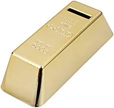 Whitelotous Gold Bullion Bar Piggy Bank Gold Bullion Brick Miniature Coin Bank Saving Money Box