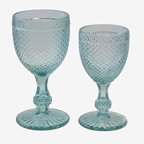 Better & Best Picos Cristaleria de 12 Piezas Agua + 6 Copas de Vino, Color Turquesa, Medidas 8,5x8,5x16,5 cm y 7x7x14,7 cm, Material: Cristal