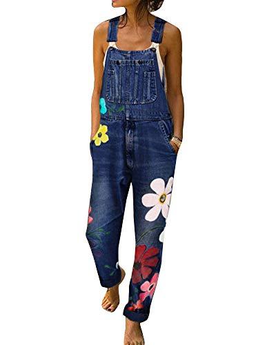 Damen Jeans Latzhose Breites Bein Blumen Drucken Overalls Strampler Loose Fit Große Größen Overalls Hosenanzug Dunkelblau XXL