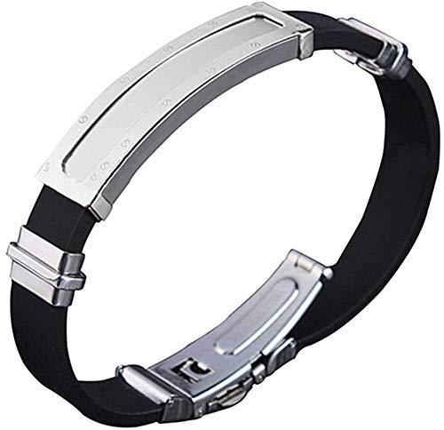 Navidad los hombres y mujeres de joyería de acero de titanio pulsera de acero inoxidable clavo de la manera del punk punto multicapa (Color : Silver)