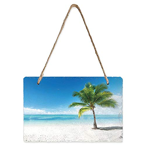 LEO BON Hanging Chalk Slate Block Board for Kids and Adults 8 x 5 Inch Blue Sky Sea Tropical Palm Trees Seaside Landscape Chalkboard Great for Kitchen Decor,Weddings,Restaurant Menus and More
