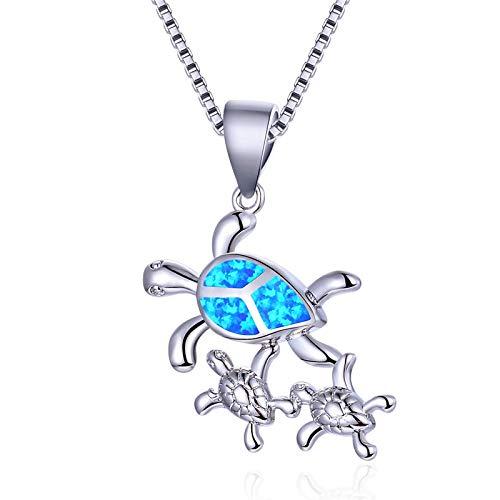 Angelazy Colgantes De Plata 925 para Mujer,Moda Cute Chainless Romántico Estilo Boho Tortuga Azul De La Madre Y El Niño Forma Encante para Damas Accesorios Joyas Regalo De Cumpleaños P
