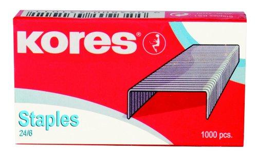 Kores - Grapas 24/6 (niqueladas, 1000 unidades), color plateadas